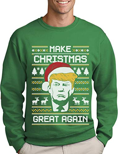 Green Turtle T-Shirts Make Christmas Great Again Trump Herren Ugly Christmas Sweater Sweatshirt